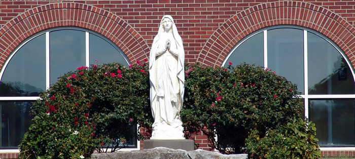 Mother Mary in front of Saint Andrews Catholic Church Harrodsburg, Kentucky